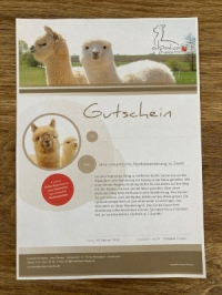 Romantische Alpakawanderung zu Zweit - PDF-Gutschein