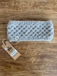 Alpaka-Stirnband GITTERNETZ hellgrau