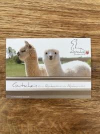 Gutschein für eine Alpakapatenschaft - Gutscheinkarte